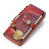 Nueva billetera hecha a mano retro estilo nacional con cremallera cabeza capa de cuero modelos de...
