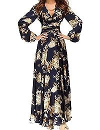 0eadc2cc1fec Hosaire 1X Vintage Donna Scollo a V Floreale Pizzo Gonne Lunghe Eleganti  Abito Da Sera Vestito