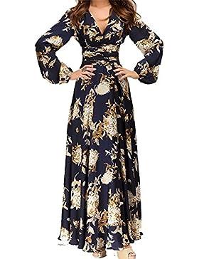 Hosaire 1X Vintage Donna Scollo a V Floreale Pizzo Gonne Lunghe Eleganti Abito  Da Sera Vestito 744cf64a2d9