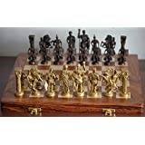 Skywalk Hand Crafted Roman Brass Chess Set with Wooden Board, (Brown)
