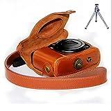 First2savvv XJPT-G16-09G6 braun Ganzkörper- präzise Passform PU-Leder Kameratasche Fall Tasche Cover für Canon PowerShot G15 G16 mit Mini-Stativ