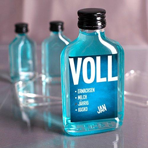 Herz & Heim® Likör mit Namensaufdruck zum 18. Geburtstag – VOLLjährig Blaues Etikett