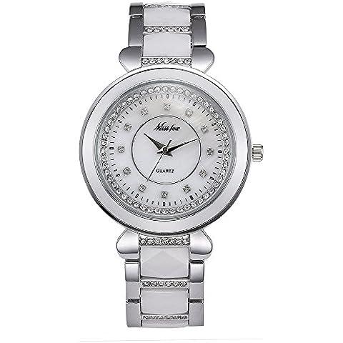 Sheli grande blanco tono Cerámica Diamantes Pulsera De resistente al agua vestido reloj para mujer, 39mm