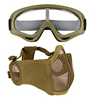 Fansport Mesh Steel Mask Half Face Mask Adjustable Face Ear Protection Airsoft Mask with Outdoor Goggles