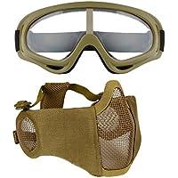 JUSTDOLIFE Máscara de Malla, Ajustable, Protectora, Flexible, máscara Facial, máscara de Airsoft con Gafas para Exteriores