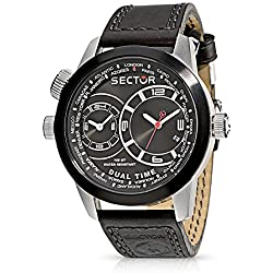 Sector Oversize Men's Watch with Dual Time, Black Dial and Black Strap - R3251102125