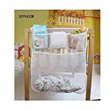 DecentGadget® Baby Nursery Organizer Hanging Organizer for Bed Diaper Organizer With Large Pockets Rhombic-Shaped Grid Breathable 50*60 CM (white)