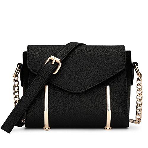 LDMB Damen-handtaschen Frauen PU-lederner magnetischer Verschluss-Schulter-Kurier-Beutel-feste einfache einfache wilde Querbody-Beutel-Ketten-Beutel Black