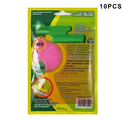 MongGood 10 Stück Staub Reinigungsgel Magic Clean Gum Super Weich Klebrig Reiniger für Tastatur Tastenfeld Telefon - Rosa (Klebrige Tastatur-reiniger)