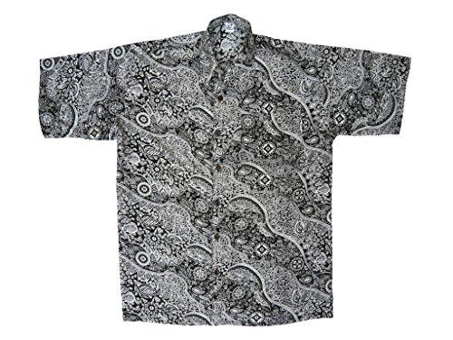 Hawaiihemd Hawai Freizeit Hemd Shirt Viskose schwarz Blumen Paisley klein weiß, Größe:M (Paisley Hemden Kurzarm)