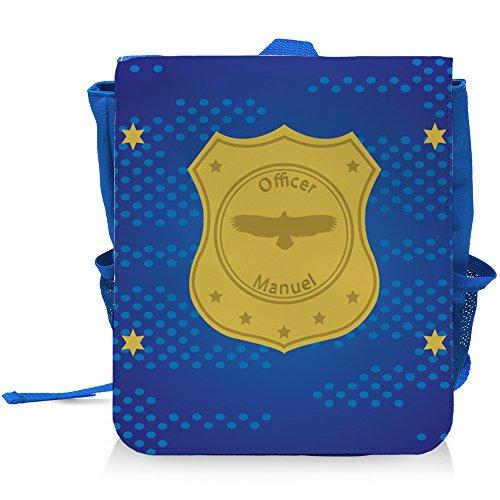 Kinder-Rucksack mit Namen Manuel und Officer-Motiv mit Sternen für Jungen