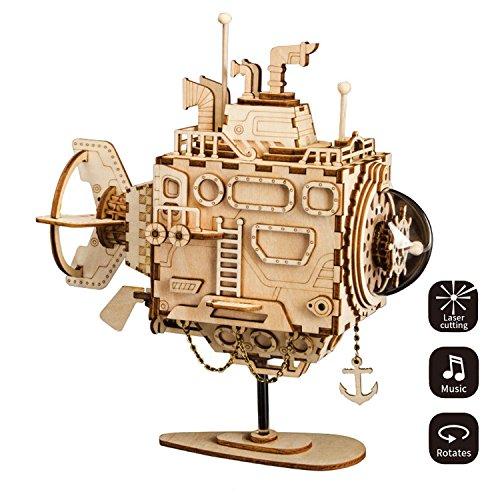 (LHYP 3D-Holz Puzzle mit Getriebe Hand-Craft Musical Box-Mechanische Modellbausätze Spielzeug Für Kinder Oder Erwachsene-Bestes Geschenk Für Geburtstags-/Kindertage/Ostern (U-Boot))