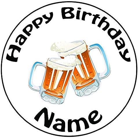 Décoration pour gâteau personnalisée Cheers Verres à bière–Un Rond prédécoupés 20,3cm Décoration Glaçage (20cm)