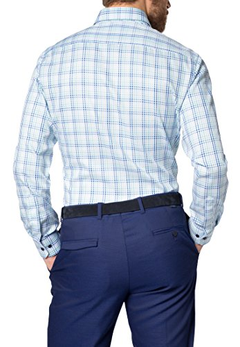 Eterna long sleeve Shirt MODERN FIT Twill checked Verde/Blu