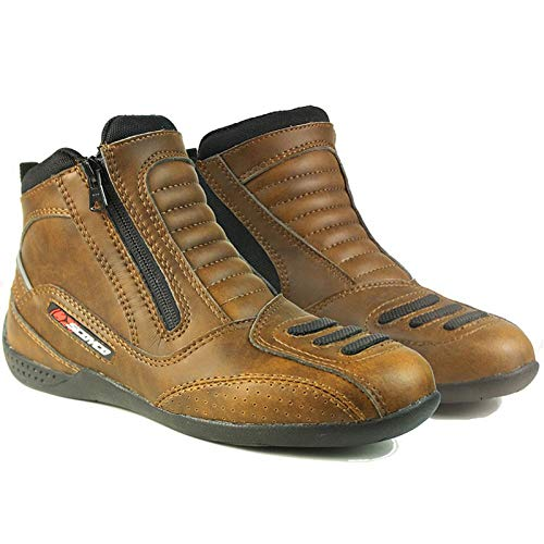 CHQQQ Motorrad-Reitschuhe Motorradstiefel Wasserdicht Rutschfeste Rüstung Gummi Racing Schuhe Sport Freizeit Roller Low Nude Schuhe,Brown-UK8/EUP43