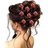 Hair Flare Hair Accessories for Women 1750 Pins Artificial Flowers Accessories (Dark Pink)