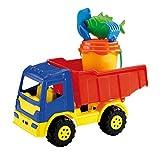 Glow2B Germany 1000324 - Sandspielzeug - Lastkraftswagen gefüllt mit Eimergarnitur, 5-teilig, 40 cm