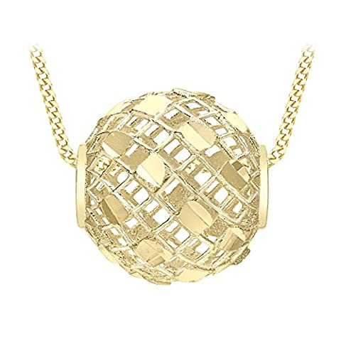 Carissima Gold 9ct Yellow Gold Diamond Cut Mesh Ball Pendant