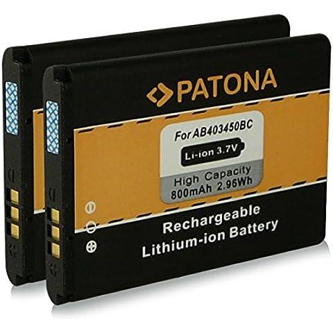 2x PATONA Batería E2550 para Samsung GT-E2510 GT-E2550 GT-M3510 Beat GT-S3550 Shark 3 GT-S5050 AllureS GT-S5510 M3510 S3500 S3500i SGH-D610 SGH-E590 SGH-E790