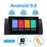 ZLTOOPAI für BMW X5 E53 E39 Android 9.0 Autoradio Stereo GPS Navigation Media Player mit 9 Zoll HD Digital Multi-Touchscreen Unterstützung Bildschirm Spiegel 4G WiFi OBD2 Lenkradsteuerung