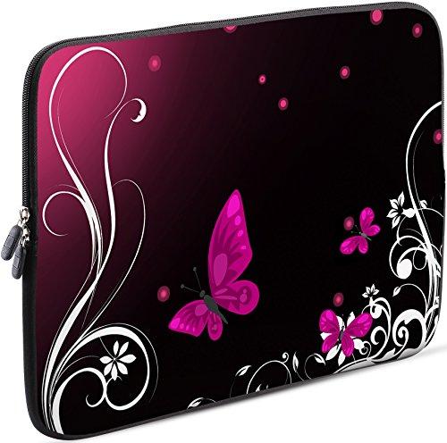 Sidorenko Laptop Tasche für 15-15,6 Zoll | Universal Notebooktasche Schutzhülle | Laptoptasche aus Neopren, PC Computer Hülle Sleeve Case Etui, Rosa/Schwarz