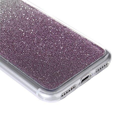 """iPhone 7Plus Handyhülle, Bling Glitzer Funkeln CLTPY iPhone 7Plus Durchsichtig Dünne Matte Gel Cover Schlanke Hybrid Stoßdämpfende & Kratzfeste Gummi Case mit Kippständer für 5.5"""" Apple iPhone 7Plus ( Purple"""
