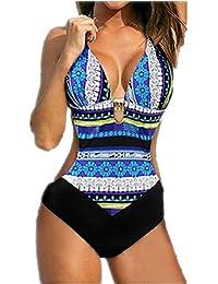 Traje de Baño Triquini Bañador de Una Pieza Push Up Mujer Sexy Moderno Deportivo Entero Bikini Monokini Trikini Ropa de Playa Copas con Relleno S M L XL XXL-LATH.PIN
