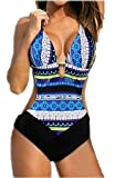 Mujer Bikini Traje de Baño una Pieza Sexy Push Up Bañador Entero Impreso Bohemia para Playa o Piscina (XXL, Azul)