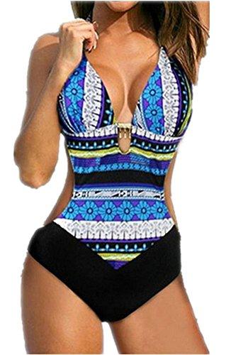 Mujer Bikini Traje de Baño una Pieza Sexy Push Up Bañador Entero Impreso Bohemia para Playa o Piscina (M, Azul)
