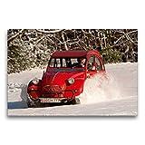Calvendo Toile Textile de qualité supérieure 75 cm x 50 cm Quer, Plaisir de Conduite dans la Neige - Tableau sur châssis - Impression sur Toile véritable - Technologie 2CV Citroën