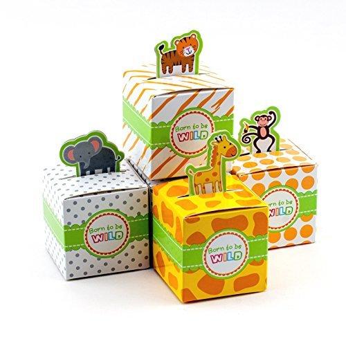 Adorox klein 24PCS Born to be Wild Liebenswürdig, Jungle Safari Zoo Baby Dusche Favor Candy Treat Box Cute Geburtstag Dekoration Sortiert