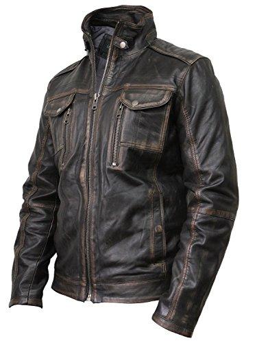 Vintage schwarze Herren Bikerjacke aus Leder (X-Large) - 2