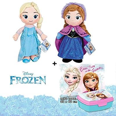 Disney - Frozen - Set de 2 Peluches Elsa y Anna Calidad Super Soft + fiambrera con toalla de manos(Toalla 30x40Cm) por FR