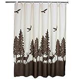 Eanshome Dekorative Country braun Hirsch Walking in die Bäume Muster Duschvorhang Textil