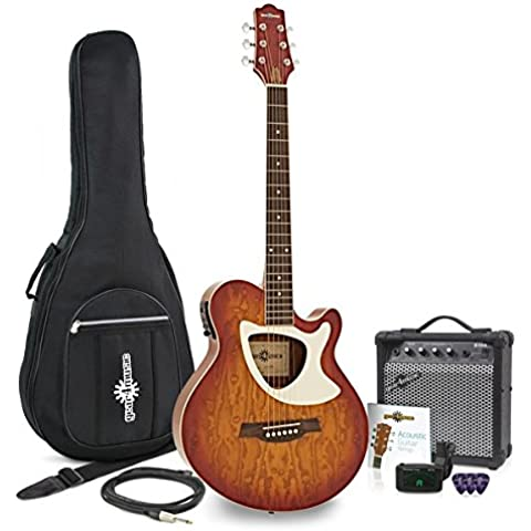 Guitarra Electroacústica Deluxe Thinline + Pack de Ampli de 15W - Cherry SB