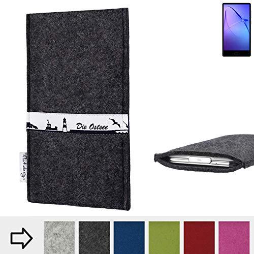flat.design für Leagoo KIICA Mix Schutzhülle Handy Case Skyline mit Webband Ostsee - Maßanfertigung der Schutztasche Handy Hülle aus 100% Wollfilz (anthrazit) für Leagoo KIICA Mix
