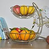 HLCUI Obstteller Wohnzimmer Schmiedeeisen Doppel Dekoration Süßigkeiten Obstschale Arbeitsplatte Stand,Champagne