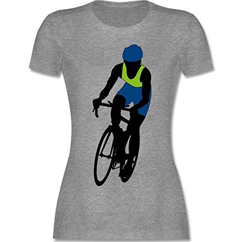 Radsport - Profi Rennrad Radrennen - tailliertes Premium T-Shirt mit Rundhalsausschnitt für Damen Grau Meliert