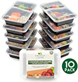[10 pack] 2 Compartment BPA Free Meal Prep Containers. Reusable Plastic Food Containers with Lids. Stackable, Microwavable, Freezer & Dishwasher Safe Bento Lunch Box Set + EBook [800mL]