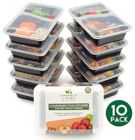 [10 pack] 2 Compartment BPA Free Meal Prep Containers. Reusable