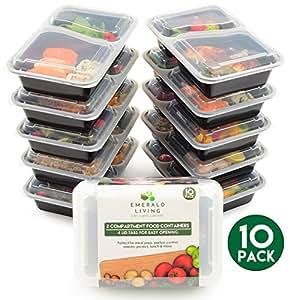 [10Pack] 2vano BPA free Meal Prep Containers. Contenitori di plastica riutilizzabili con coperchi. Impilabile, microonde, congelatore e lavabile in lavastoviglie. Bento lunch box set + eBook [800ml]