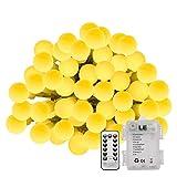 LE 50er LED Kugel Lichterkette 5m Warmweiß Lichterketten batteriebetrieben Fernbedienung Zeitschaltuhr Merkfunktion