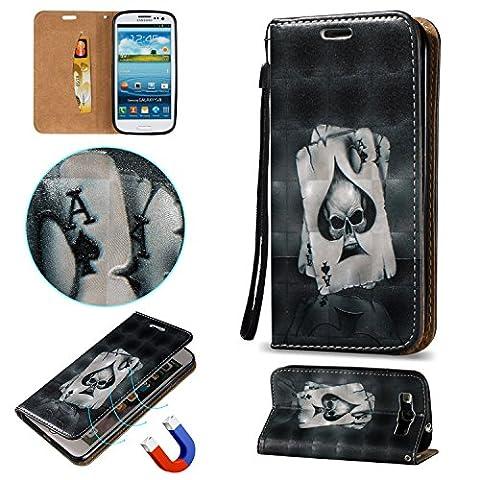 Cozy Hut Hülle Case Cover Für Samsung Galaxy S3 , 3D HD Exklusive Ultra Thin Leicht TPU Silikon Weiche + Anti-Fingerprint kratzfeste + Drucken Muster Printing Pattern 3D Landschaft Schwarz Poker + Premium PU Leder Schutzhülle für Samsung Galaxy S3 i9300 4.8