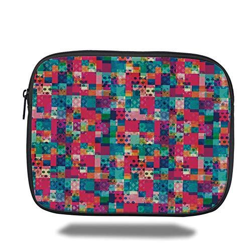 Tablet Bag for Ipad air 2/3/4/mini 9.7 inch,Geometric,Fashion Themed Italian Grunge Modern Color Contrast Squares with Dots Artwork,Multicolor,Bag -