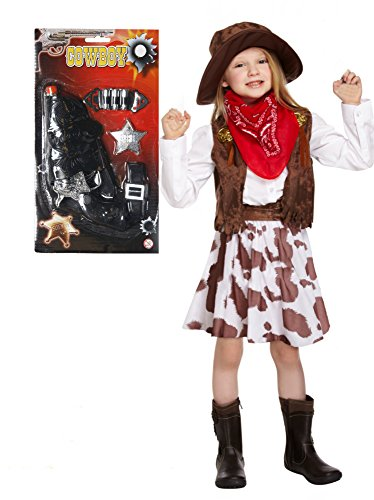 Mädchen, 7-teiliges Set-Alter 3-12 Gun (3 Teiliges Cowgirl Kostüme)