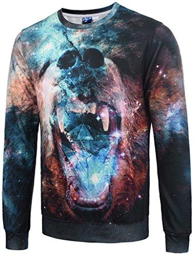 Pizoff Unisex lange Ärmel Rundhalsausschnitt Elastische Winter Warm Thicken gefütterte Sweatshirts mit Cartoon galaxy bear baer 3D Druck
