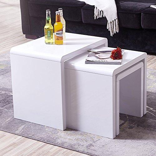 Modern Design White High Gloss Nest Of 3 Coffee Table Side: UEnjoy High Gloss Nest Of Coffee Table Side Table Living