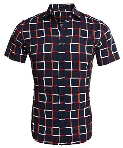 Aulei Hemd Herren Karohemd Shirt Kurzarm Slim Fit Hemden Männer Freizeit Tops Oberhemd Marineblau