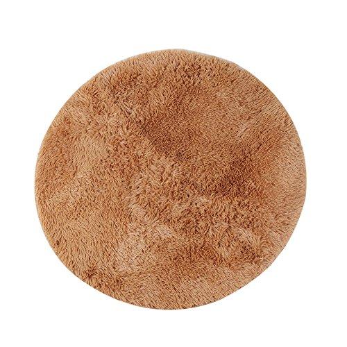 Alfombra redonda, CONMING Shaggy piso alfombra Super alfombra suave almohadillas antideslizante piso alfombra antideslizante desgaste yoga esterilla para sala de estar dormitorio y más tamaños (marrón,80cm)