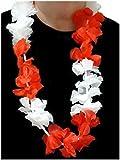 Sportfanshop24 Blumenkette/Hawaiikette/Halskette - Rot - Weiß (Polen, Österreich, Schweiz, England, Nordirland, Dänemark